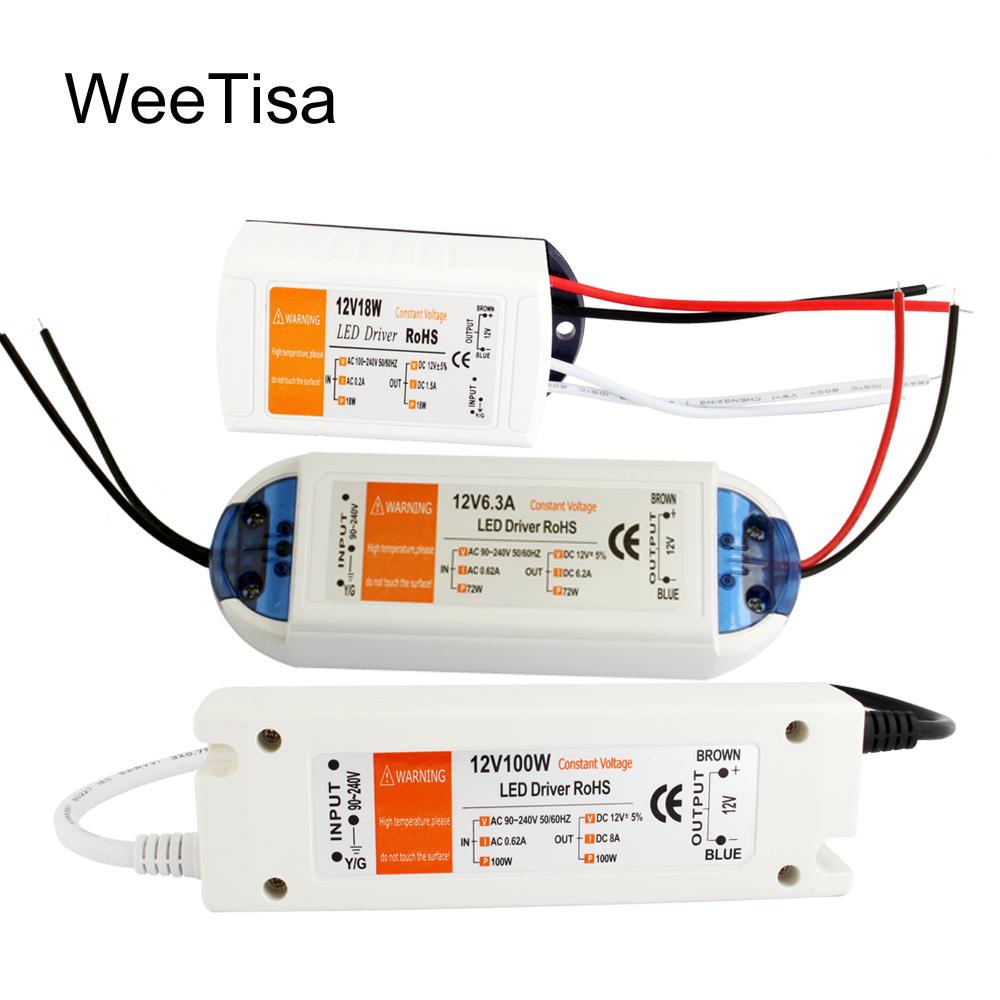 12V LED Driver AC 110V 220V to DC 12V Power Supply 18W 28W 48W 72W 100W 12 Volt Power Adapter LED Strip Lighting Transformer