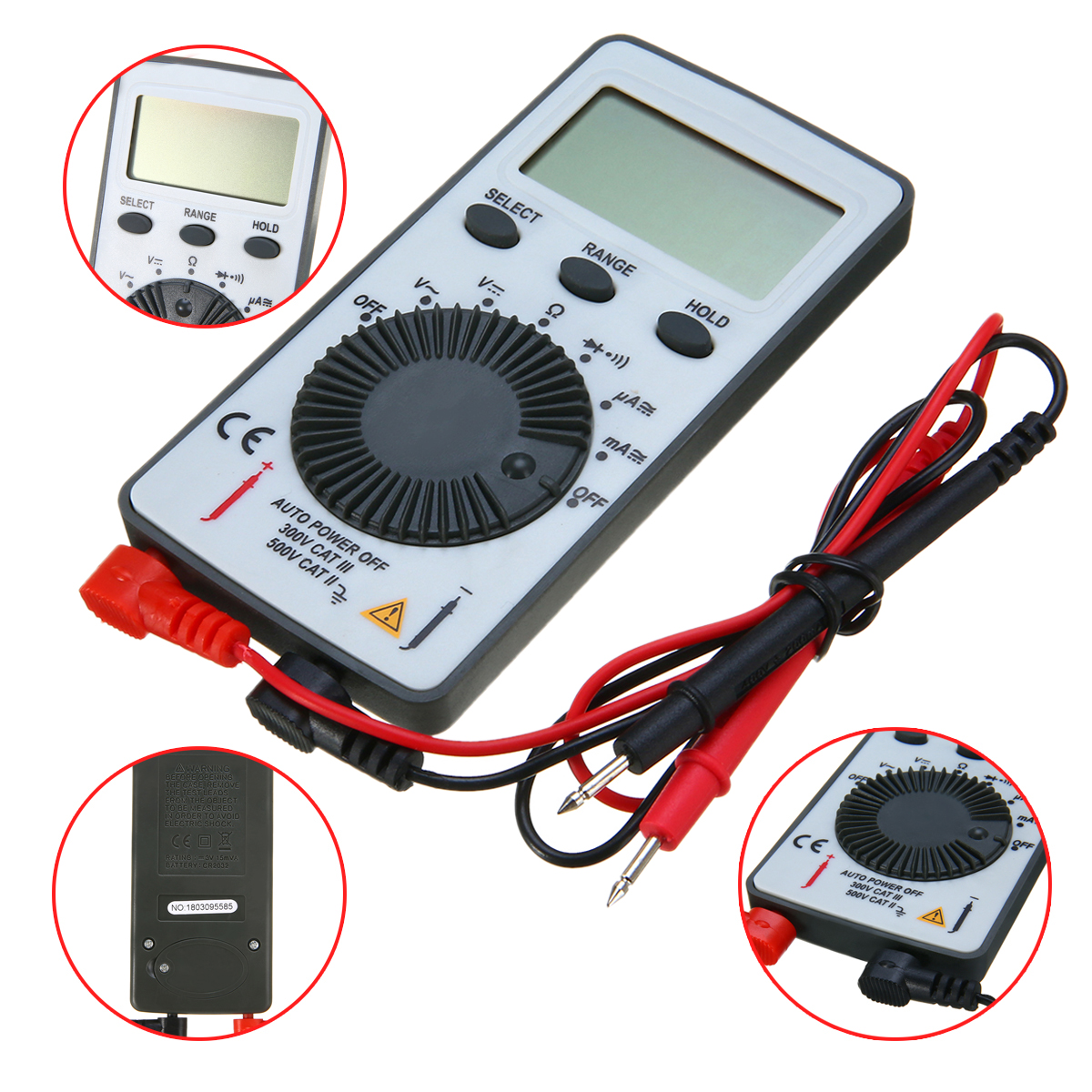 AN101 Digital Mini Multimeter DC/AC Voltage Current Meter Handheld Pocket Voltmeter Ammeter Tester With Test Leads 10*55*10mm