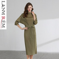 LANMREM High Quality 2019 Summer New Pattern Pleat Clothes For Women Drawstring Waist Three Quarter sleeve Dress hot sale YH205