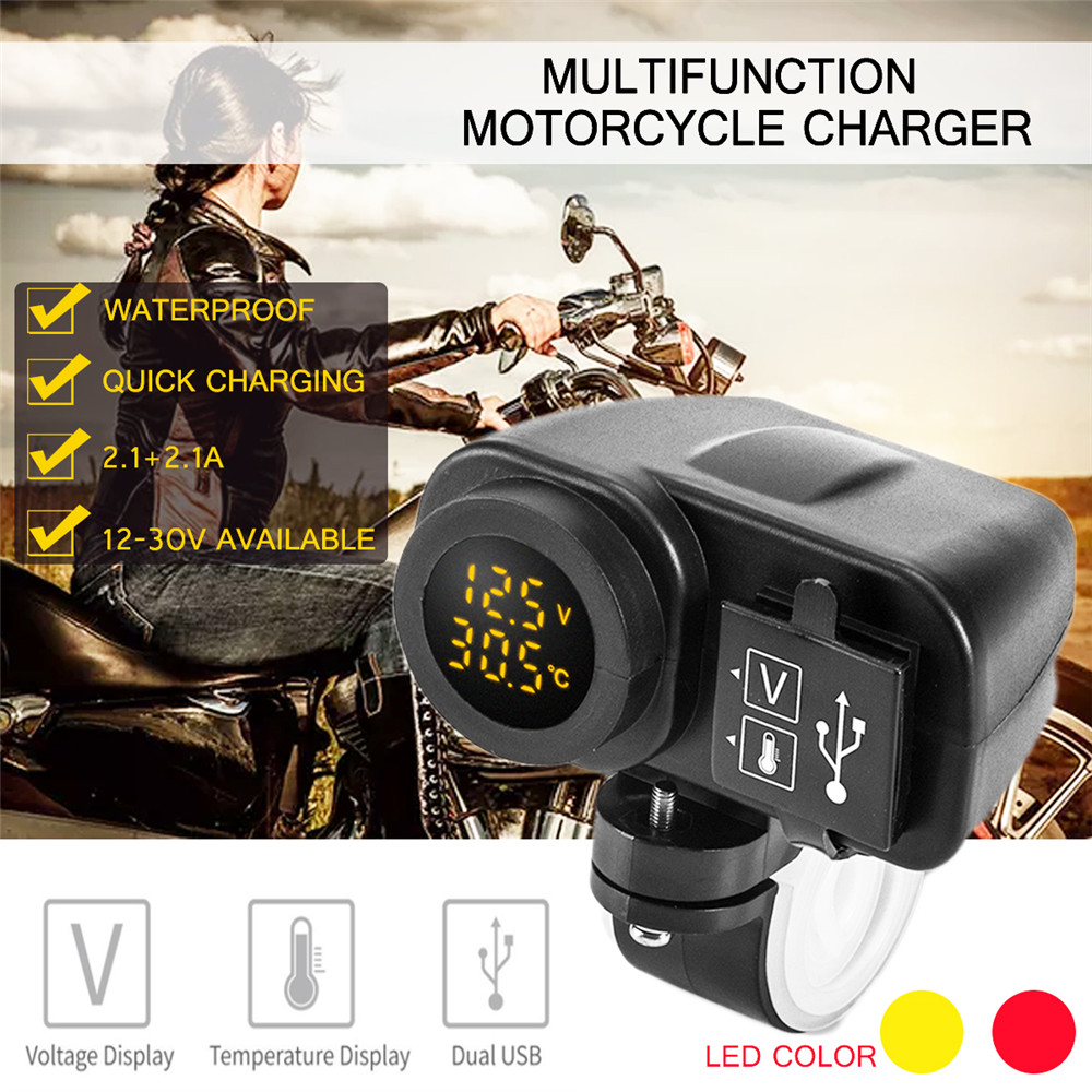 LED Motorcycle <font><b>USB</b></font> Voltmeter Thermometer 2.1A <font><b>12V</b></font> Multifunctional Waterproof <font><b>Motor</b></font> <font><b>USB</b></font> <font><b>Charger</b></font>+Digital Voltmeter+Thermometer image