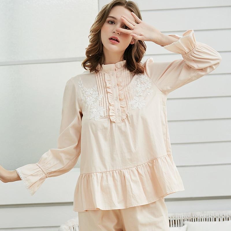 Пижама для женщин, пижама с длинным рукавом, осенняя, хлопковая, для сна