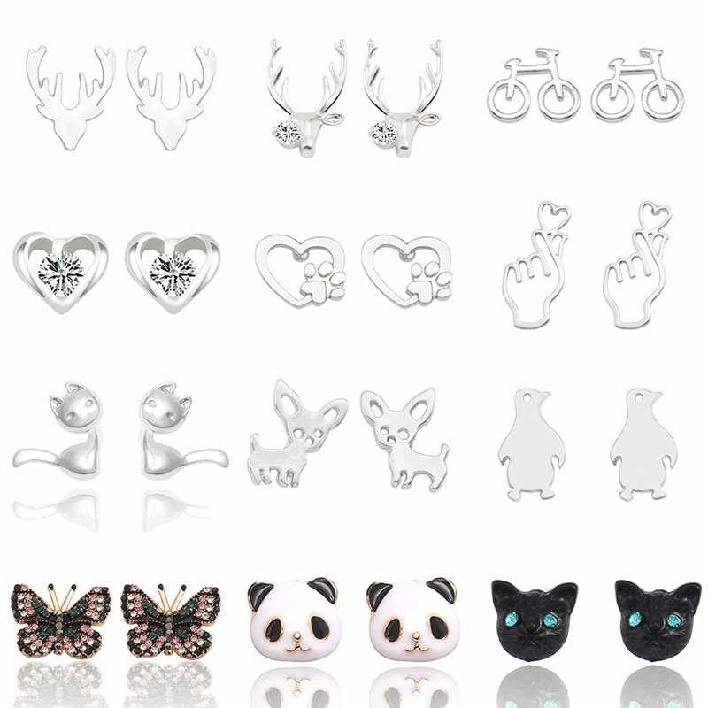 Simple Metal Heart Animal Earrings For Women Trendy Dog Footprint Butterfly Penguin Deer Panda Cat Stud Earrings Jewelry Brincos