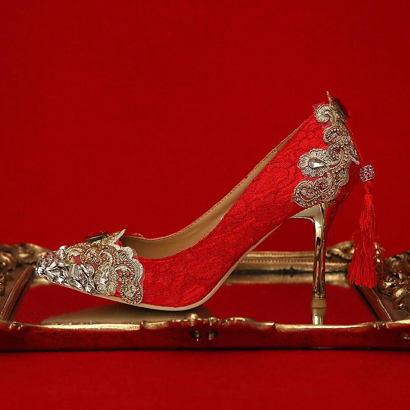 Gland En Cuir Tipe Mince Mariage Pompes Cristal Orteils Partie 7cm Pointu Chaussures Talons Fringe Haute 9cm Femme De Dentelle HeDI29YWE
