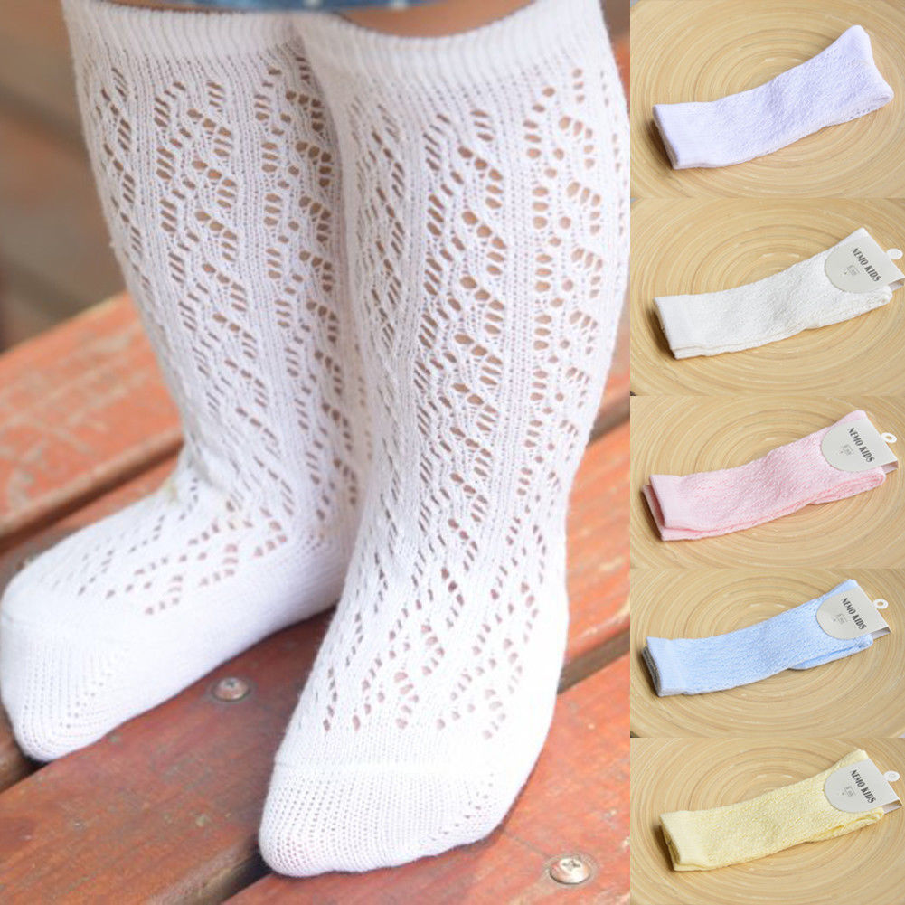 New Arrivals Baby Girl Kid Infant Toddler Cotton Knee High Princess Socks 0-4 Years Warm Soft Solid Knitted Hole Cute Socks