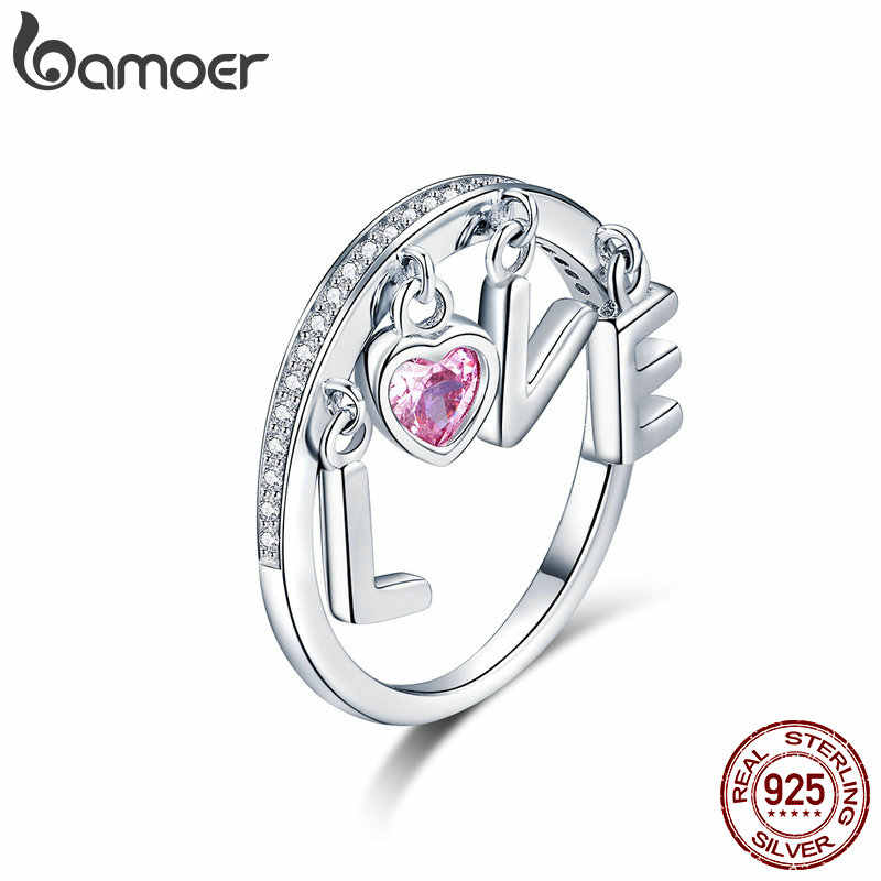 BAMOER 2019 Sterling Silver Ring Women for Women Cubic Zirconia Pink Heart Love Letter Finger Rings Silver 925 Jewelry SCR503