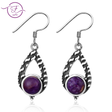 Womens 925 Sterling Silver Earrings 7MM Round Natural Purple Dragon Crystal & Moonstone Drop Gift Wholesale