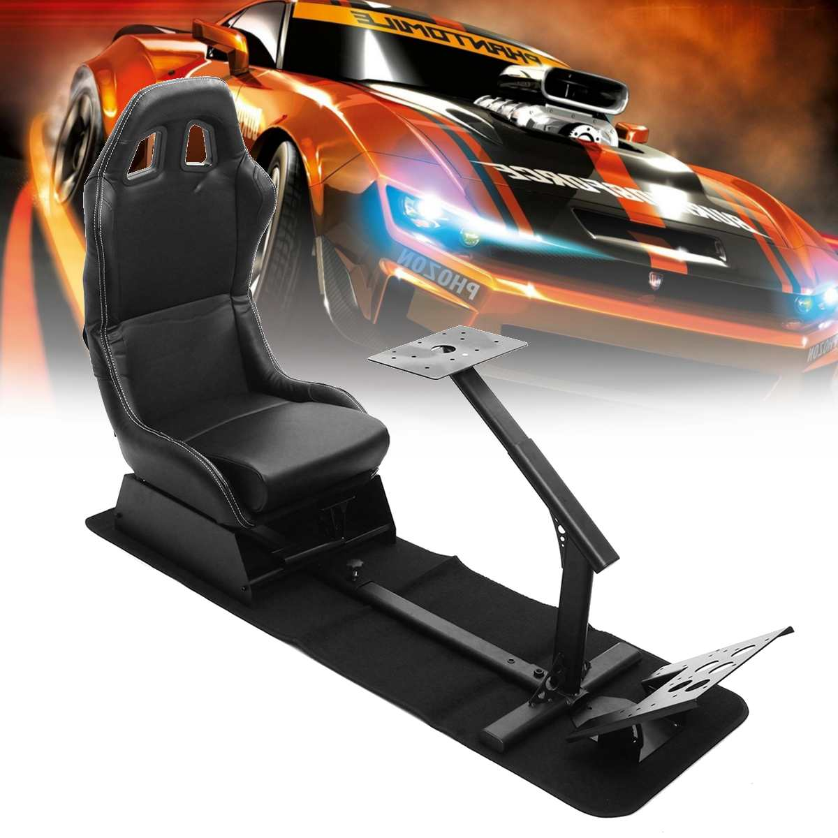 Support Of Steering Wheel Pedal & Gear  Holder Folding Simulator Cockpit Racing Seat For Logitech