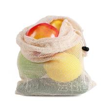 Reusable Cotton Vegetable Bags Home Kitchen Fruit And Vegetable Storage Mesh Bags With Drawstring    Washable 20/30/35CM A20