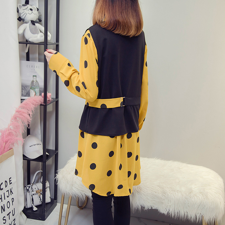 XL-5XL Plus Size Women Tops Autumn 2018 Vintage Polka Dot Print Long Sleeve Yellow Shirts and Knitted Vest Two Piece Set 3