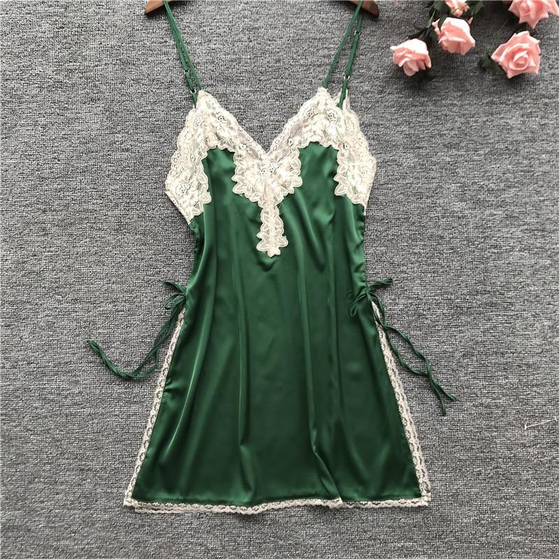 2019 Summer Women   Nightgowns     Sleepshirts   Nightshirts Silk Sleepwear Satin Sexy Spaghetti Strap Nightdress Lace Nightwear