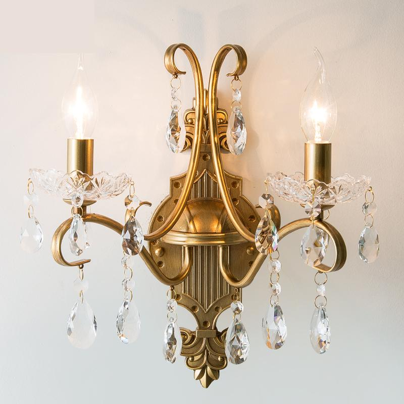 Foyer led candle crystal Wall Lights 2-3 Gold iron Crystal mirror light  home indoor wall lighting bedroom Balcony wall sconceFoyer led candle crystal Wall Lights 2-3 Gold iron Crystal mirror light  home indoor wall lighting bedroom Balcony wall sconce