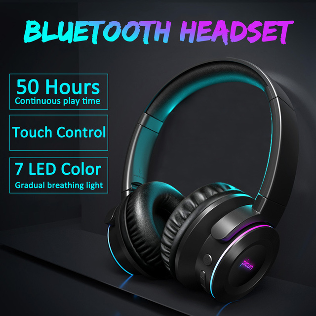 Wireless bluetooth Headphone LED Headset Touchs Control Foldable Adjustable Earphones with Mic /TF Card for Mobile Phone