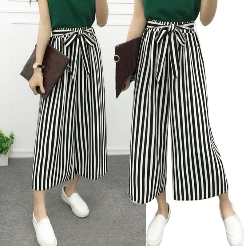 Women Casual   Wide     Leg     Pants   Black And White Striped Big   Pants     Pants   Band Width Harem   Pants