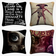 Dobby Character Hand Painted Decorative Cotton Linen Cushion Cover 45x45 cm For Sofa Chair Pillowcase Home Decor Almofada цены