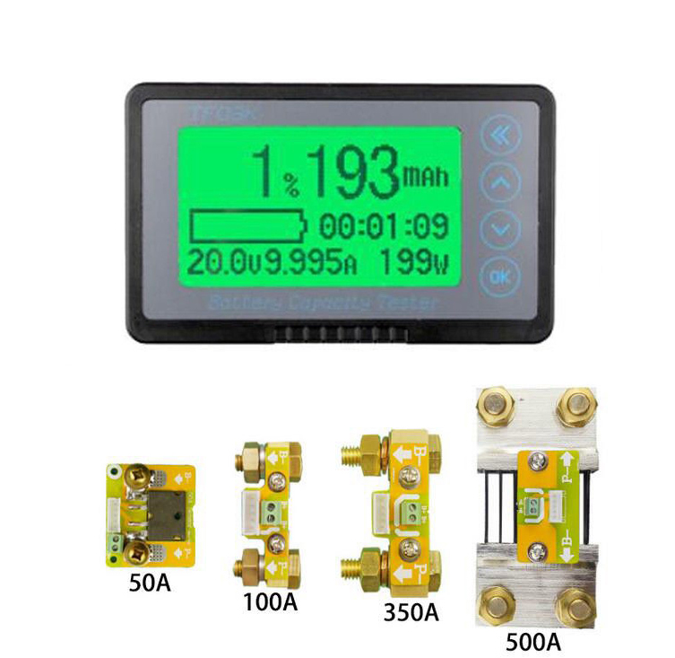 DC 50A 100A 350A 500A Coulomb Meter Battery Monitor Capacity Indicator Voltmeter Ammeter Lithium Lead Acid 12v 24V 36v 48v CAR