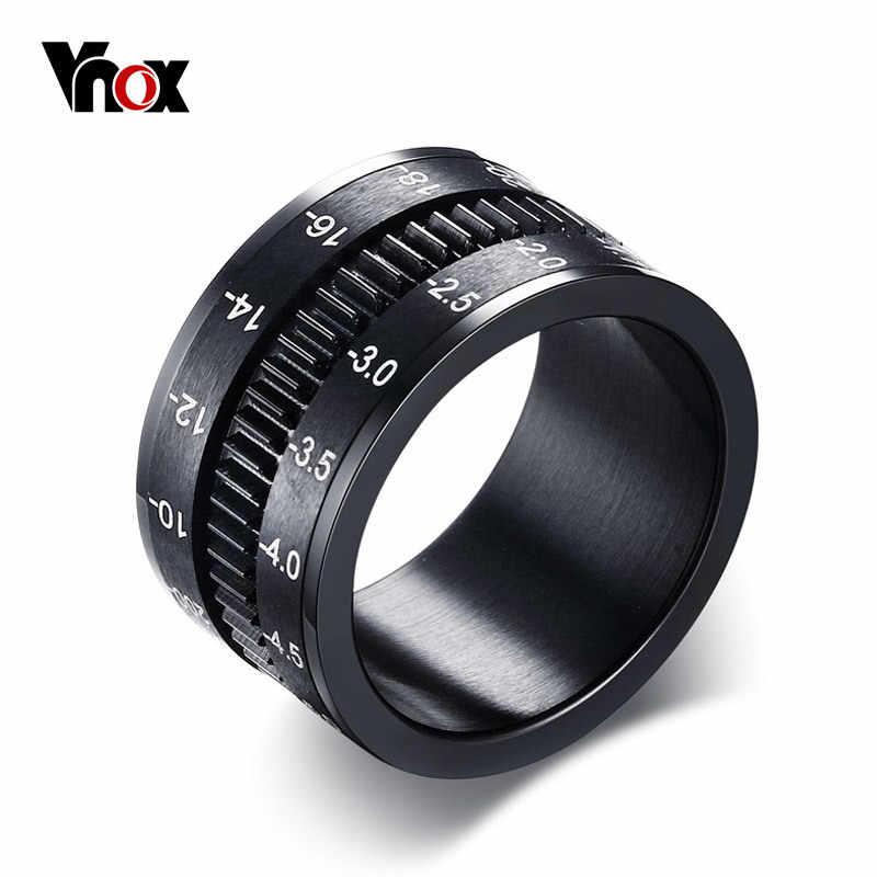 Vnox Для мужчин кольцо вращаться Камера черный уникальный 12 мм Ширина Нержавеющая сталь Средний spinner
