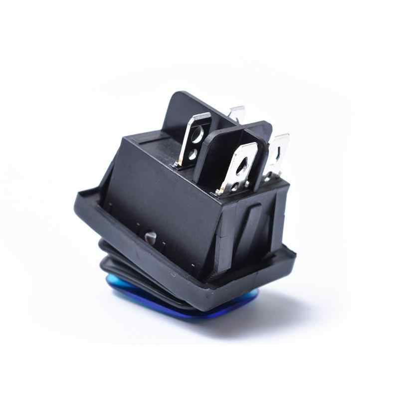 Rocker สลับสวิทช์ ON-OFF-ON 4 Pins 12V DC รถเรือรถยนต์กันน้ำ LED LATCHING สวิทช์ (Blue Light)