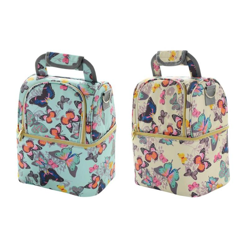 Portable Mommy Bag Multi-function Large Capacity Thicken Insulation Milk Butterfly Print Diaper Storage Bags Set