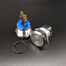 2 Pieces 22mm 1NO1NC Momentary 6 Pin Ring LED Electric Metal Push Button Electric Switch стоимость