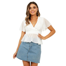 все цены на Summer Crop Top Women Chiffon Blouse Ruffles Short Sleeve Party Wrap Shirts Sexy Low Cut White Blouse Casual 2019 Ladies Clothes онлайн