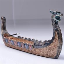 Retro Incense Burners Traditional Chinese Design Dragon Boat Stick Holder Burner Hand Carved Carving Censer Ornaments