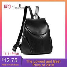 hot deal buy herald fashion backpacks for teenage girls women's pu leather backpack school bag casual vintage large capacity travel backpack