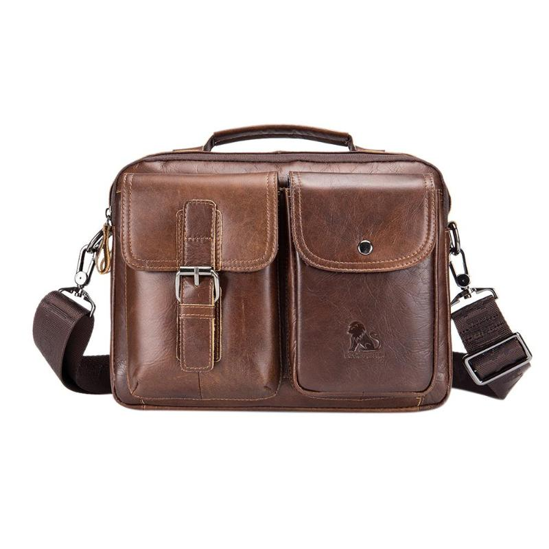 Men Business Briefcase Vintage Genuine Leather Laptop Messenger Bag Cowhide Big Capacity Tote Office Handbag Men Briefcase