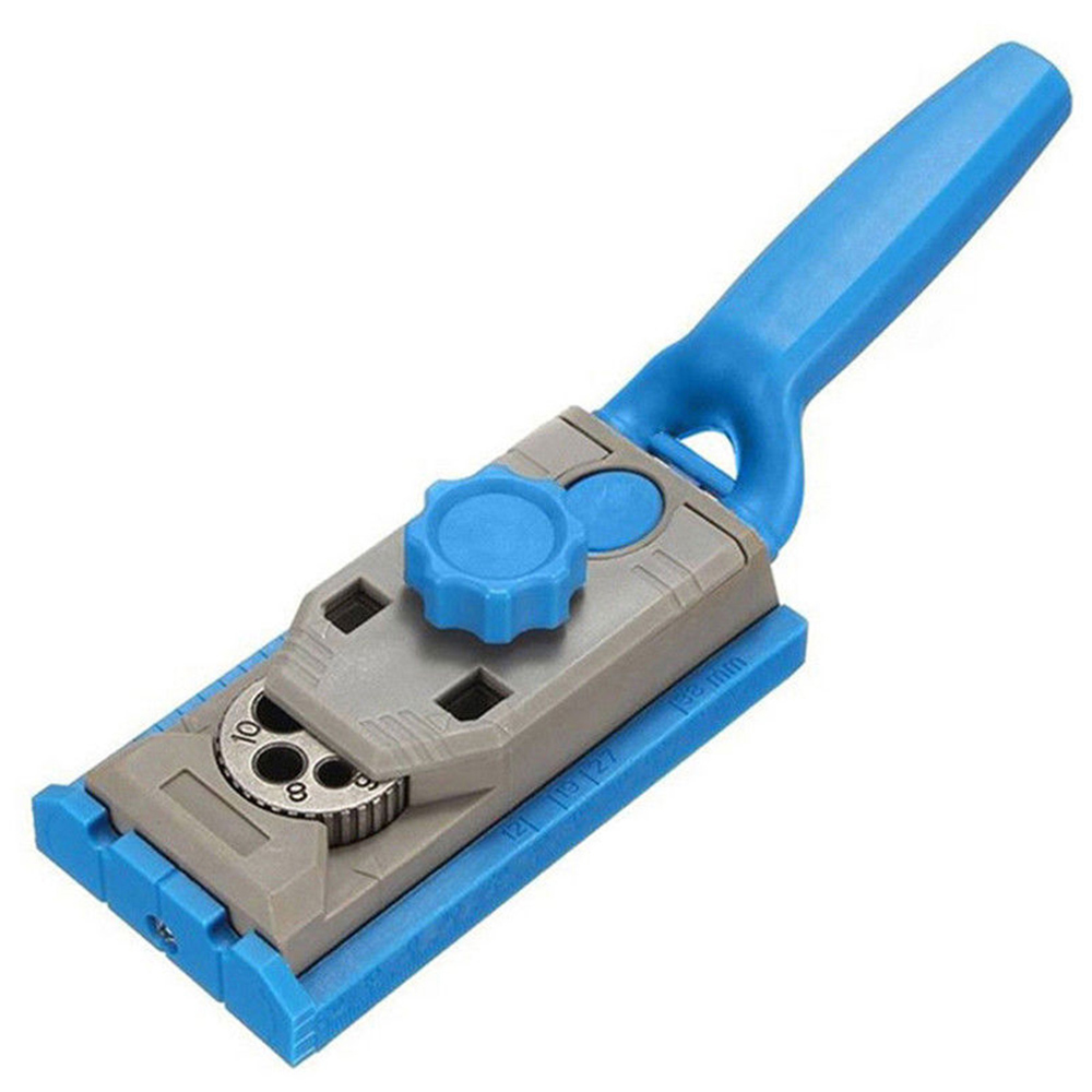 Pocket Jig Oblique Hole Locator Drill Guider Sleeve Wood Dowel Oblique Hole Saw Locator Woodworking Tool Blue W/Scale