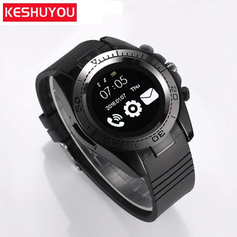 KESHUYOU SW007 Bluetooth Inteligente Relógio Dos Homens Do Esporte Relógio Da Câmera do telefone Smartwatch Android IOS dispositivos wearable Com 2g TF Sim cartão