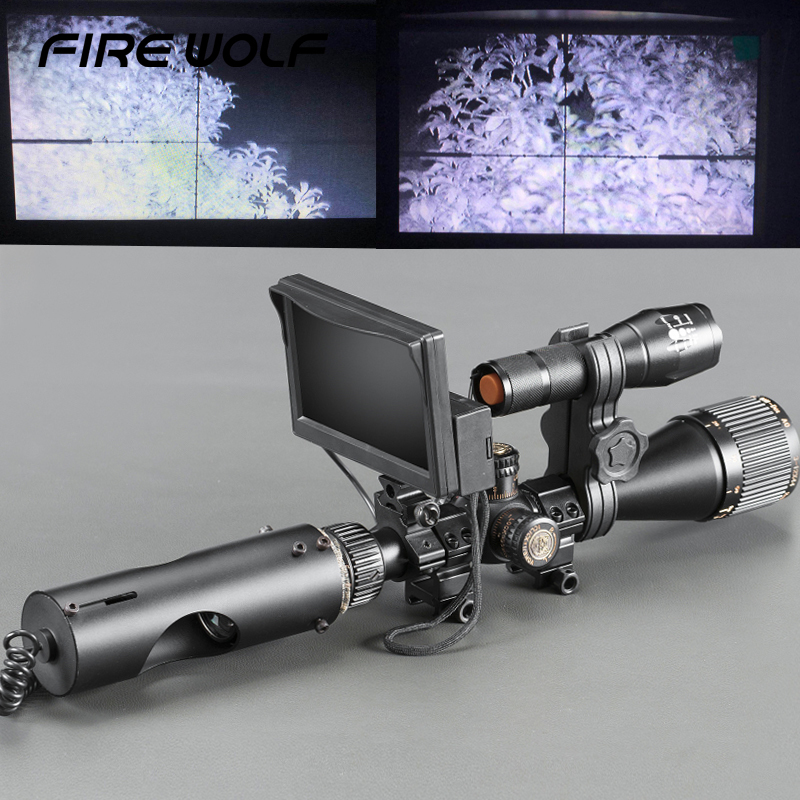 Tactique Numérique Infrarouge vision nocturne de Tir Avec LCD et 3 W IR Flashlight Curiosités Optiques de Chasse Scopes