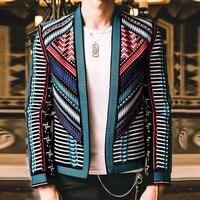 Красочная вышивка костюм Блейзер Masculino Для мужчин Блейзер Hombre этап вечерние клуб дизайнер куртка Slim Для мужчин DJ хост Для мужчин s блейзер