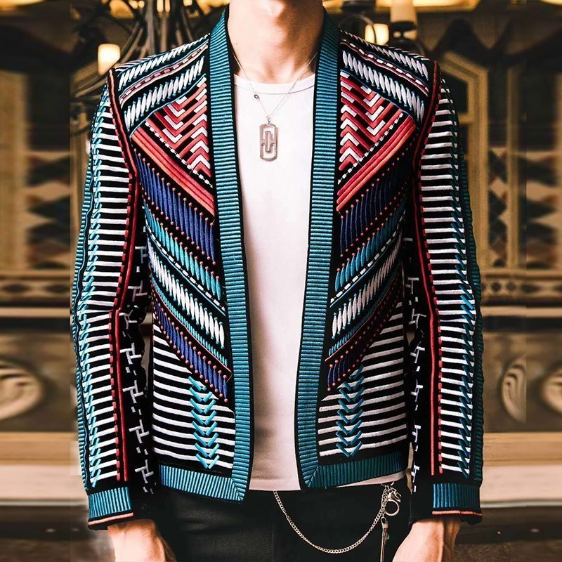 Colorful Embroidery Suit Blazer Masculino Men Blazer Hombre Stage Party Club Designer Slim Jacket Men DJ Host Mens Blazer Jacket