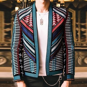 Image 1 - Colorful Embroidery Suit Blazer Masculino Men Blazer Hombre Stage Party Club Designer Slim Jacket Men DJ Host Mens Blazer Jacket
