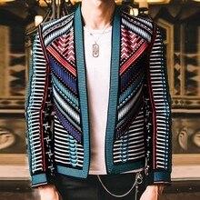 Kolorowy haft garnitur Blazer Masculino mężczyźni Blazer Hombre etap do klubu na imprezę projektant wąska kurtka mężczyźni DJ Host mężczyzna żakiet z dzianiny dresowej
