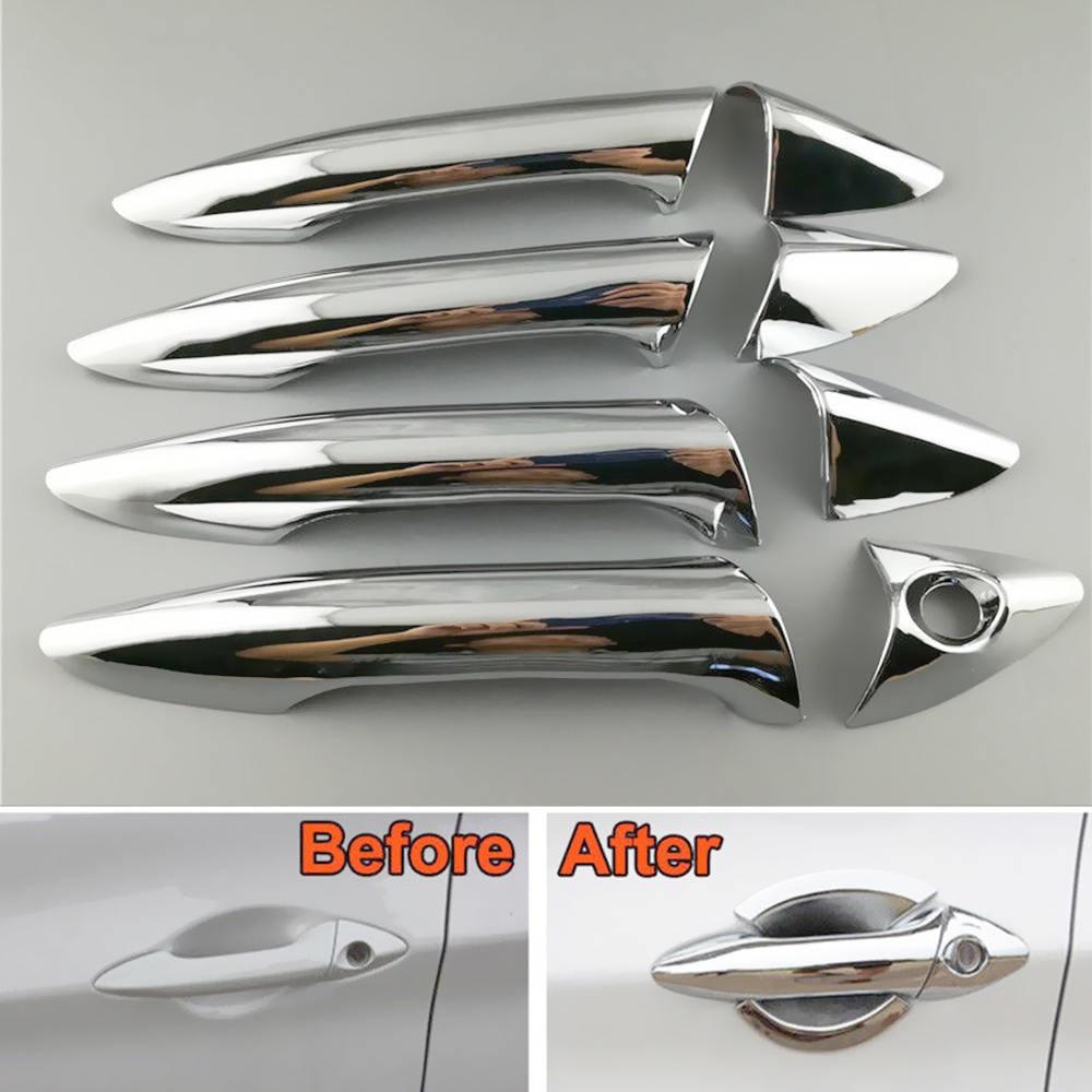 8PCS Door Handle Cover Frame Trim ABS Chrome For Hyundai Elantra 2012 2013 2014 For Toyota