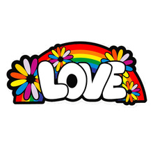 Love Rainbow Hippie Flower Girl Vinyl Sticker Car Bumper Decal Decorate Personalized Accessories For