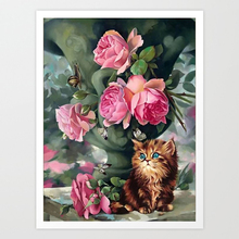 SepYue 5D Diamond Painting Full Drill Square Needlework Rhinestone Embroidery Paint with Diamonds Cartoon Cat and flower