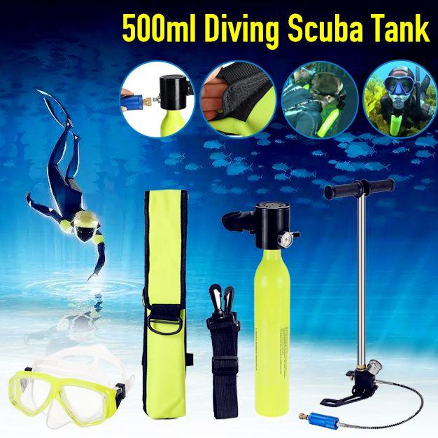 Mini réservoir d'air portatif de cylindre d'oxygène de plongée de 3 pièces/ensemble 0.5L équipement de plongée pour le sac de pompe respiratoire sous-marine de plongée en apnée