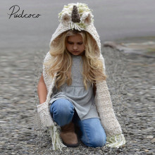Новинка года; брендовая Модная вязаная крючком зимняя шапка с рисунком единорога для маленьких девочек; шарф с капюшоном; вязаная длинная От 2 до 12 лет с кисточками