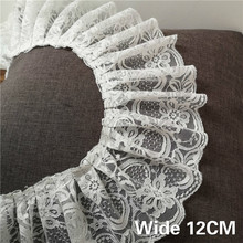 12cm Wide White Tulle 3d Guipure Lace Fabric Cotton Flowers Embroidered Ribbon Ruffle Trim Diy Hand Crafts Curtain Dress Sewing eyelet embroidered ruffle trim dress