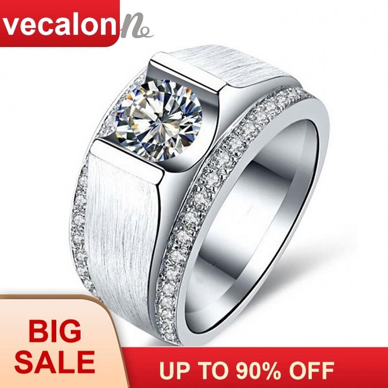 Vecalon 2016 nuevo anillo de boda para hombres 2ct Cz piedras de nacimiento 925 plata esterlina hombre compromiso anillo de dedo joyería de moda