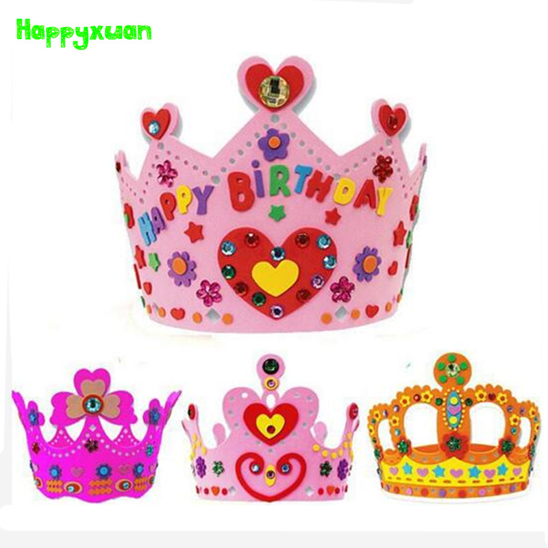 Happyxuan 12 Pcs/lot Kids Diy Eva Birthday Crown Hat Handmade Art And Craft Children Princess Party Supplies Educational Toy 100% Guarantee Tool Organizers
