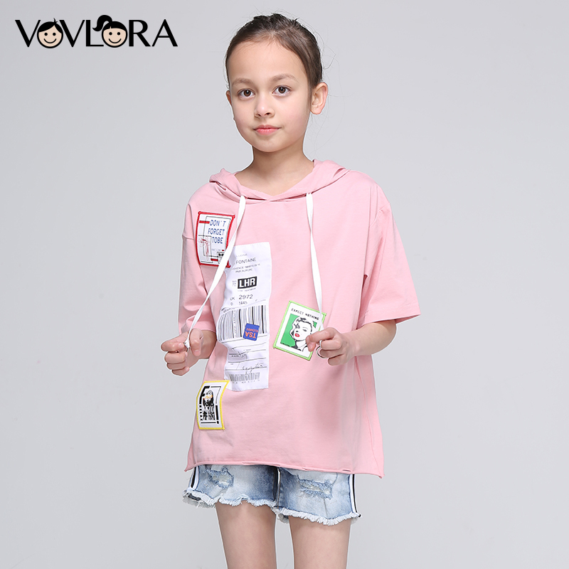 Girls Summer T Shirts Hooded Tops Cotton Kids Fashion T Shirt Half Sleeve Print Children Clothing Size 9 10 11 12 13 14 Years half sleeve holographic fabric plunging hooded swimsuit