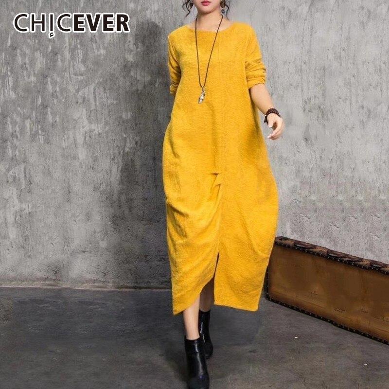 CHICEVER Herbst frauen Kleid Weibliche O Neck Langarm Lose Oversize Unregelmäßigen Saum Gelb Kleider Fashion Casual Kleidung Neue-in Kleider aus Damenbekleidung bei  Gruppe 1