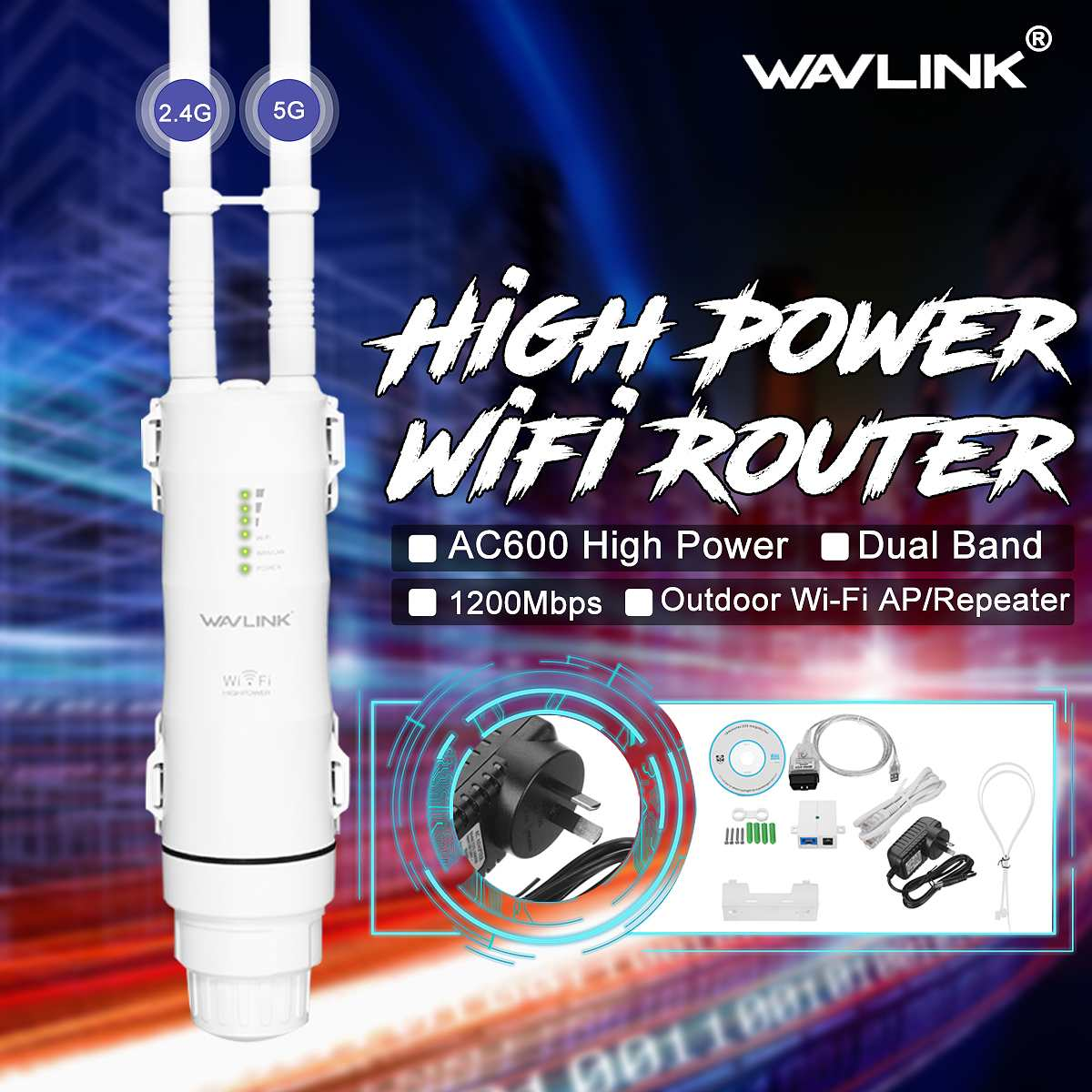 2018 290x125x60mm Wavlink AC600 2.4g/5G High Power Outdooor Waterproof WIFI Router/AP Repeater 2 Antennas AU Plug