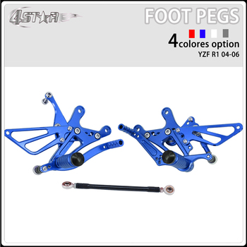 Motorbike CNC Aluminum Adjustable Footpegs Foot Pegs Footrest Pedals Rests Rear Set For YAMAHA YZFR1 YZF R1 YZF-R1 2004-2006