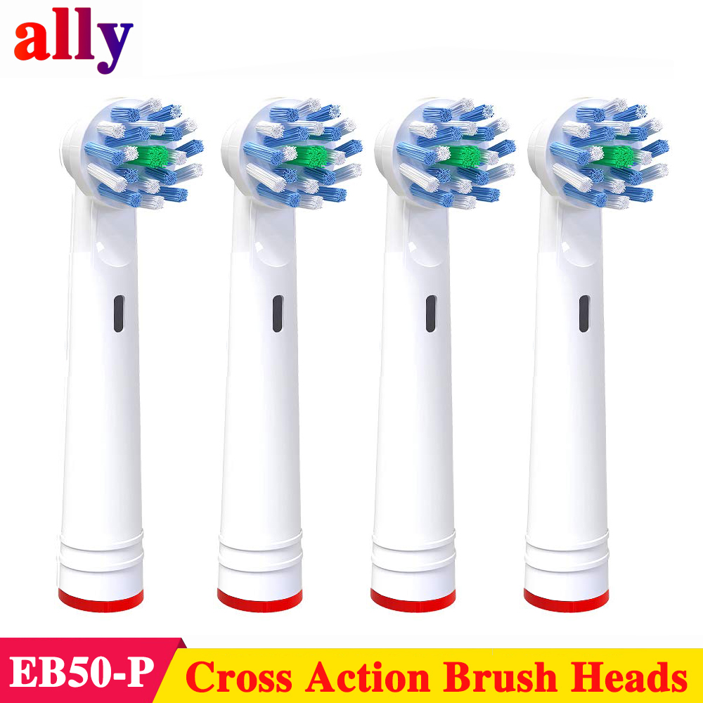 4X Electric Toothbrush Heads For Braun Oral-B Vitality Cross Action With Bacteria Guard Bristles Replacement Brush Heads