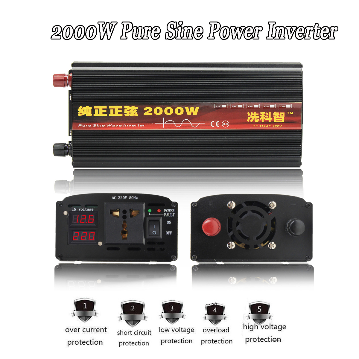 Onduleur 12 V/24 V 220 V 2000/3000/4000 W transformateur de tension pur onduleur à onde sinusoïdale DC12V à AC 220 V convertisseur + 2 LED affichage - 2
