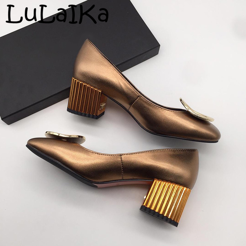 2019 New Fashion Brand Solid Color Lady Pumps Sexy Square Head Metal Round Shining Woman Wedding Party High Heels Shoes2019 New Fashion Brand Solid Color Lady Pumps Sexy Square Head Metal Round Shining Woman Wedding Party High Heels Shoes