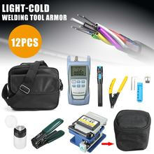12pcs/set Fiber Optic FTTH Tool Kit for F C-6S Fiber Cleaver and Optical Power Meter Visual Fault Locator Wire Stripper